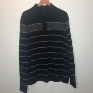 BANANA REPUBLIC Striped Wool Half Button Down XL